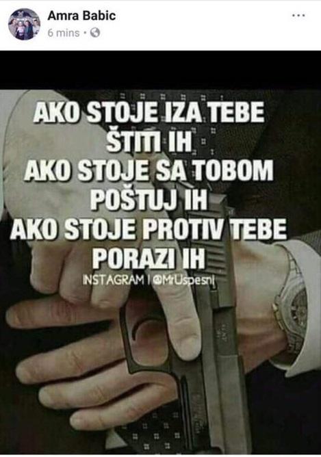 Foto: Facebook / Status Amre Babić na društvenim mrežama