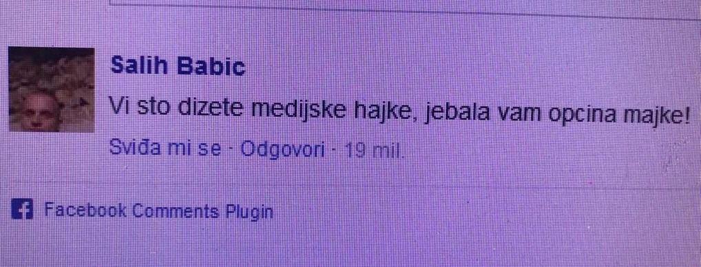 Foto: Facebook / Komentar Saliha Babića, sin Amre Babić
